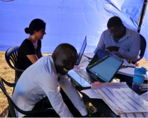 Part of the study team in Area 25 (L-R: Nicole Carbone, Blessings Chisunga and Godfrey Banda)
