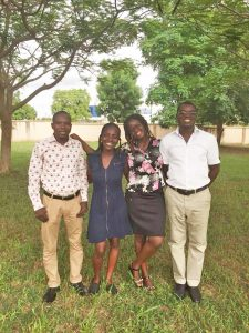 My last day at the MAZA office in Tamale. (L-R) Rufal Abdul-Nashiri (Nash), Accounts Officer; Me; Genevieve P. Nyewieh(MzGee), Community Relations Manager; and Isaac K. A. Awuni, Driver Relations Manager.