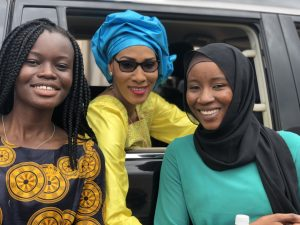 First Lady of The Gambia (center), fellow intern Jalang (right), and I (left) taking a quick selfie before the First Lady departs from Bundung MCH Hospital.