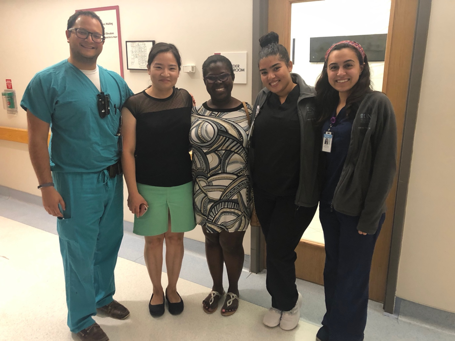 L-R: Dr. Rosenbaum (Preceptor), Munguu, Enam, Arieska (Sonographer) and Stephanie (Research Assistant)