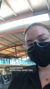 Wearing a mask at RDU.