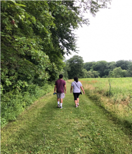 Daily walks with my mom and brother.