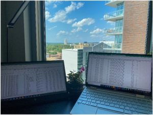 Two computers full of data looking out into the Carolina sky.